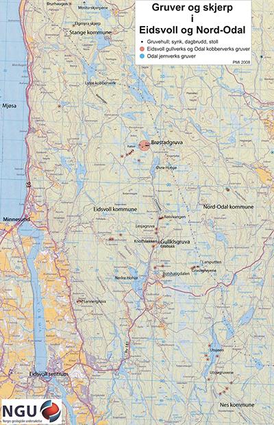 Kart over gruvene